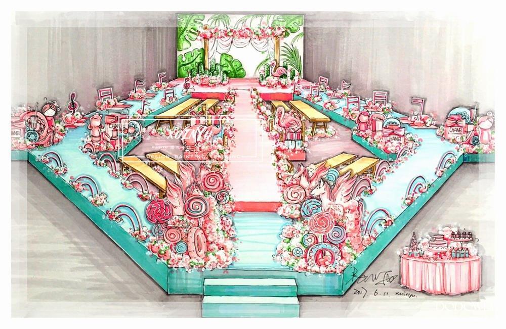 xuinyu纸面马克笔婚礼手绘效果图