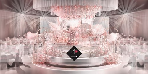 不二婚礼设计粉色系婚礼效果图
