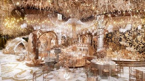 魔方婚礼手绘奢华香槟金欧式婚礼堂案例
