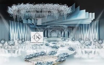 DK婚礼设计淡蓝色系婚礼效果图