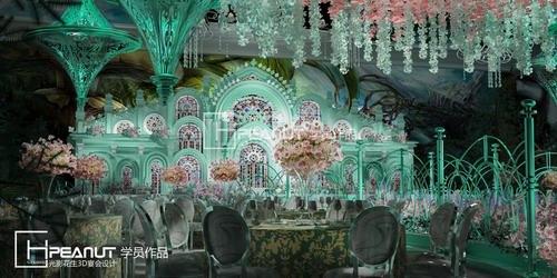 光影花生教堂婚礼3D设计效果图
