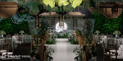 光影花生中式园林婚礼3D设计效果图