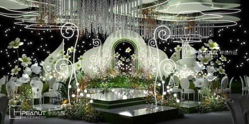 光影花生《小花园》白绿婚礼3D设计效果图
